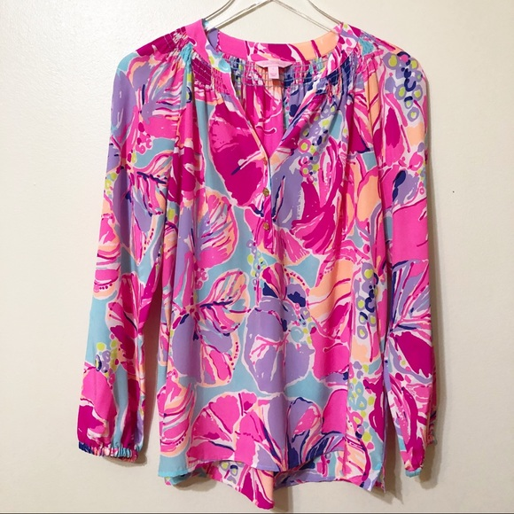 602d7779429621 Lilly Pulitzer Silk Blouse